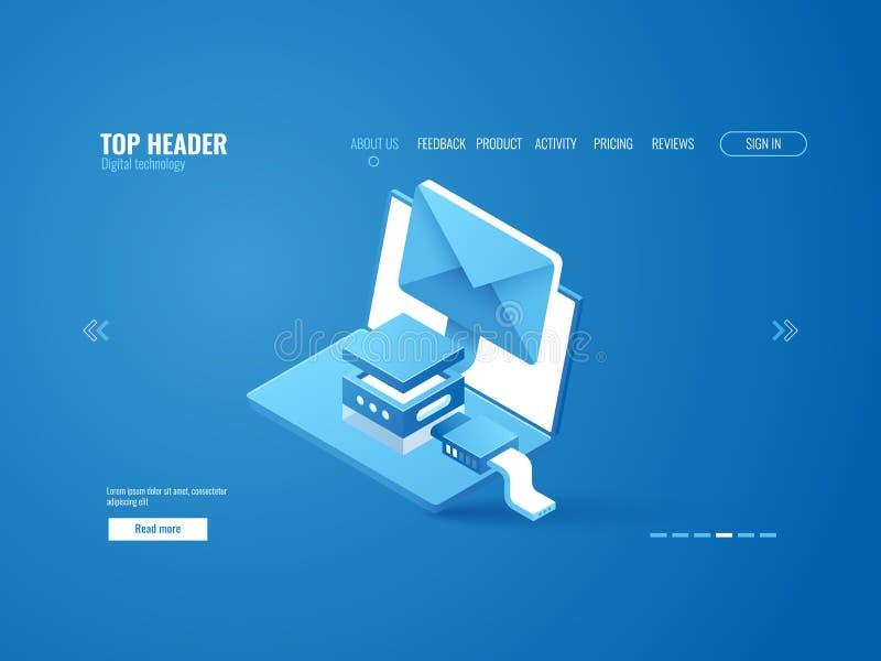 Datakryptering, internetuppkoppling, email som överför, online-advertizing, bärbar dator med kuvertet stock illustrationer
