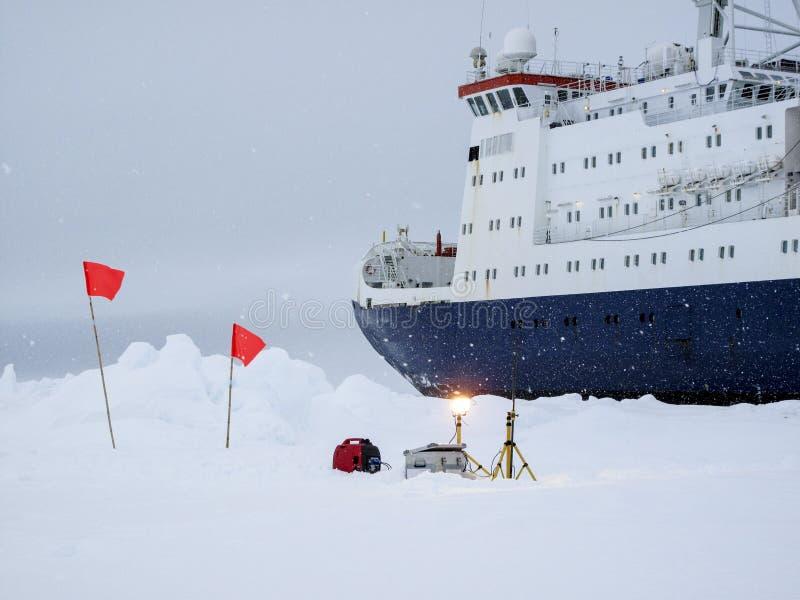Dataloggers measuring environmental parameters in Antarctica stock image