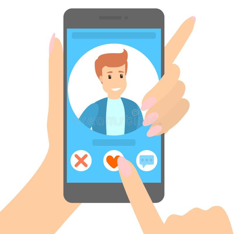 Datando o app no telefone ilustração do vetor