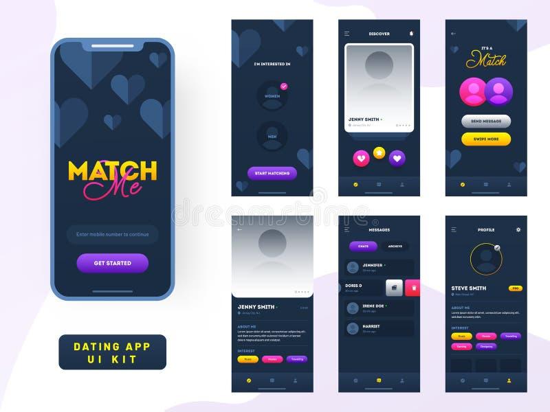Datando o jogo do ui do app para o app ou o Web site móvel responsivo com disposição diferente do GUI ilustração royalty free