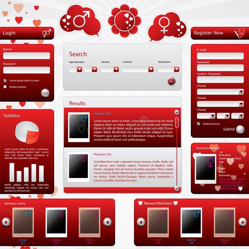 Datando o molde do Web site para o dia do Valentim ilustração royalty free