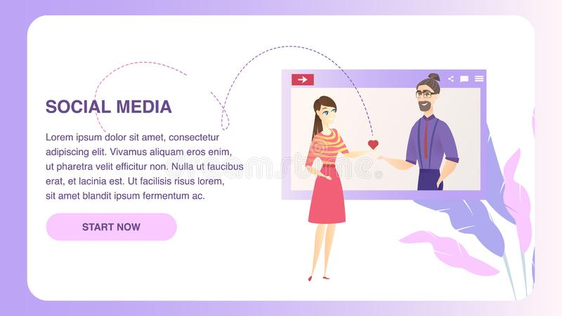 Datando o Web site social do caráter da rede dos meios ilustração do vetor