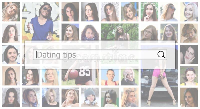 Datando pontas O texto é indicado na caixa da busca na parte traseira fotos de stock