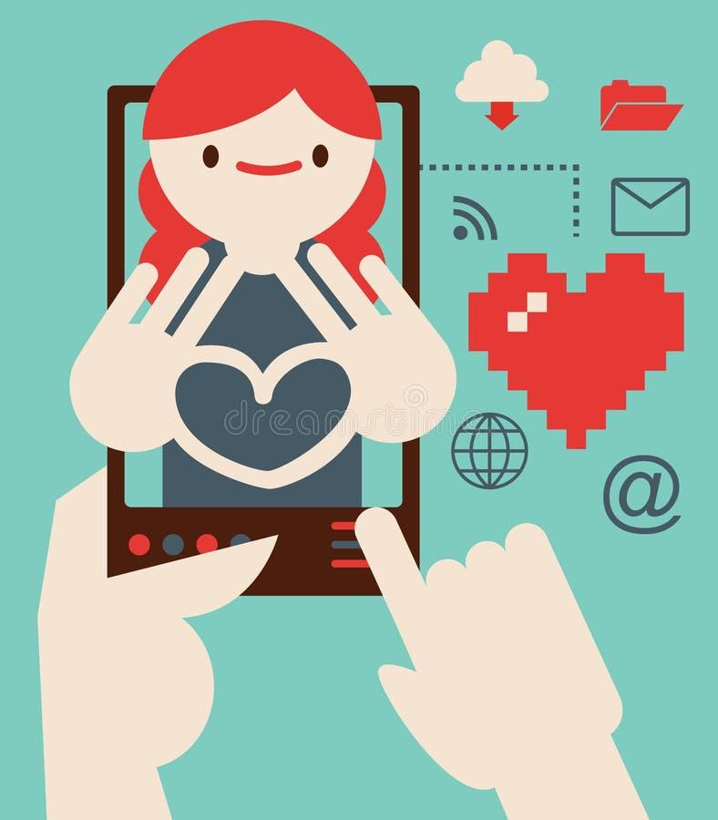 Datar e romance através do Internet ilustração stock