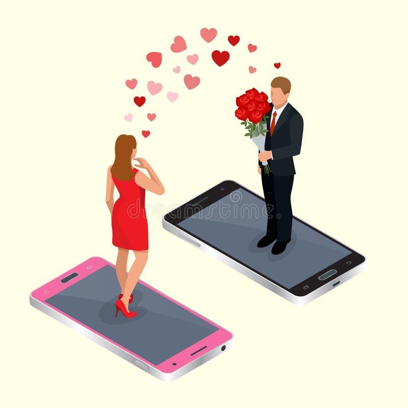 Datar em linha Conceito datando em linha do app com homem e mulher Ilustração isométrica do vetor 3d liso Internet em linha ilustração stock