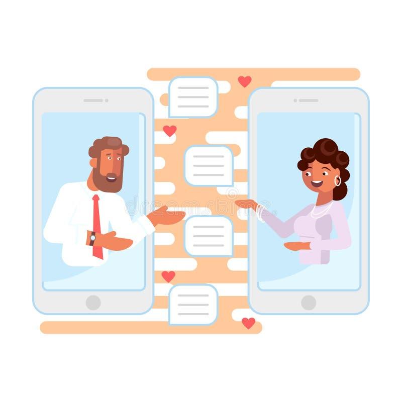 Datar em linha e conceito romântico ilustração do vetor