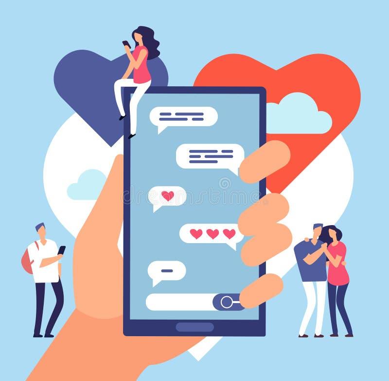 Datar em linha Uma comunicação amigável do Internet Conceito datando romântico do vetor da aplicação do local ilustração royalty free