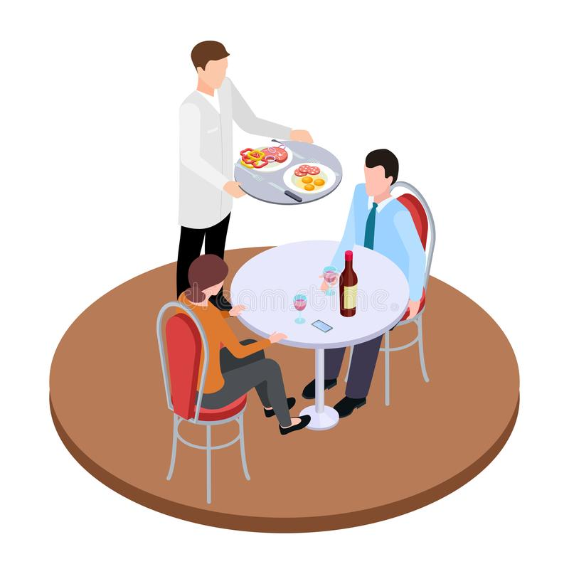 Datar romântico na ilustração isométrica do vetor do restaurante ilustração royalty free