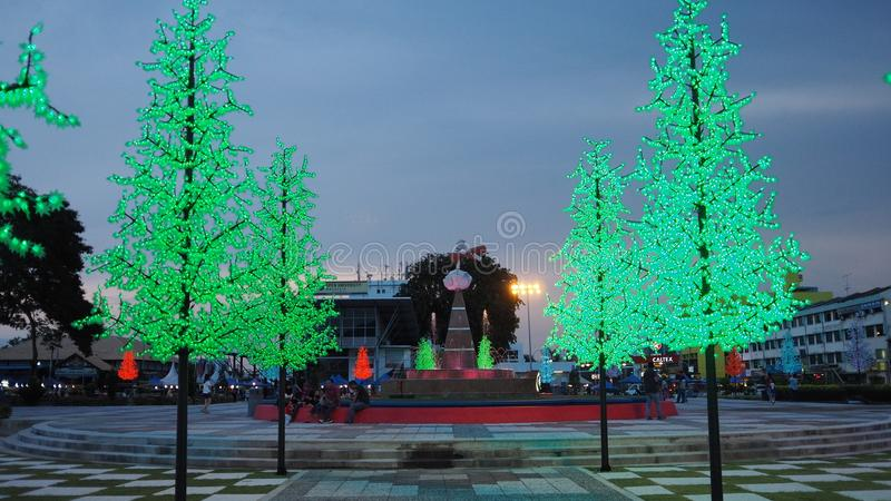 Dataran batu pahat with light tree. This its dataran batu pahat before night. Have some led tree at this place royalty free stock image