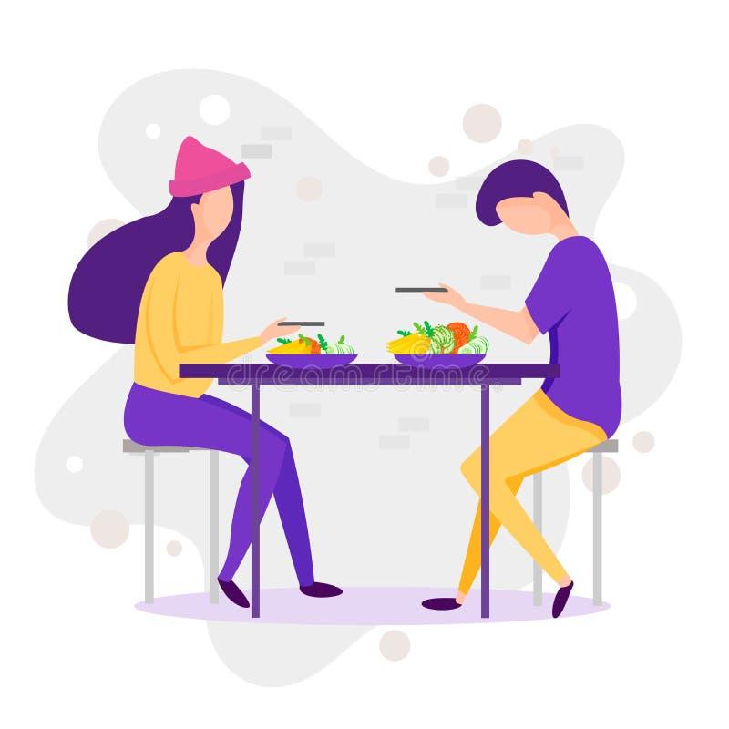 datare Illustrazione divertente del fumetto di vettore delle coppie Uomo e donna che mangiano piede sano al paesaggio della natur illustrazione di stock