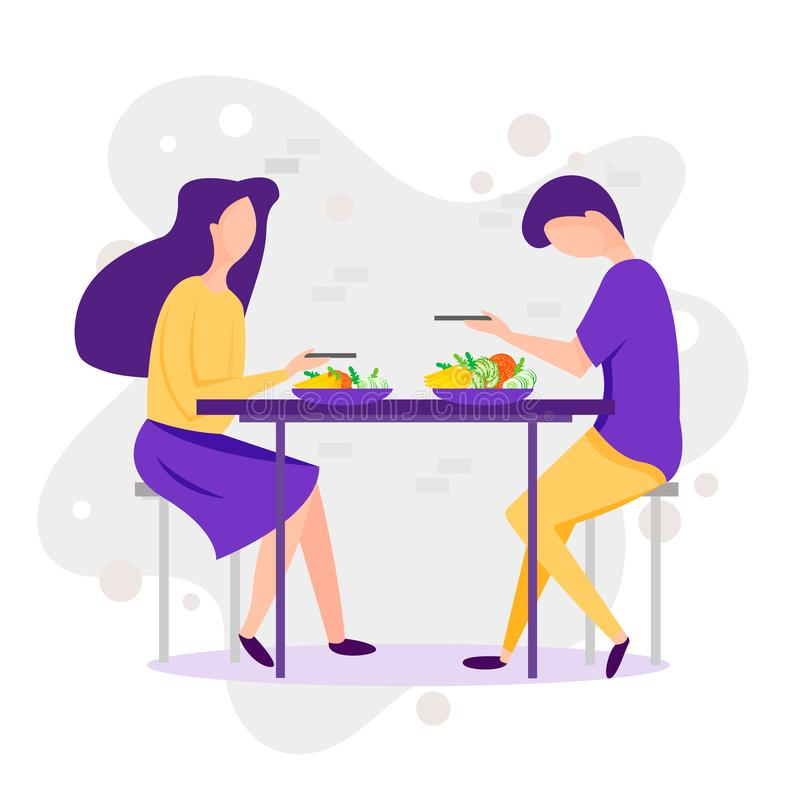 datare Illustrazione divertente del fumetto di vettore delle coppie Uomo e donna che mangiano piede sano al paesaggio della natur illustrazione vettoriale