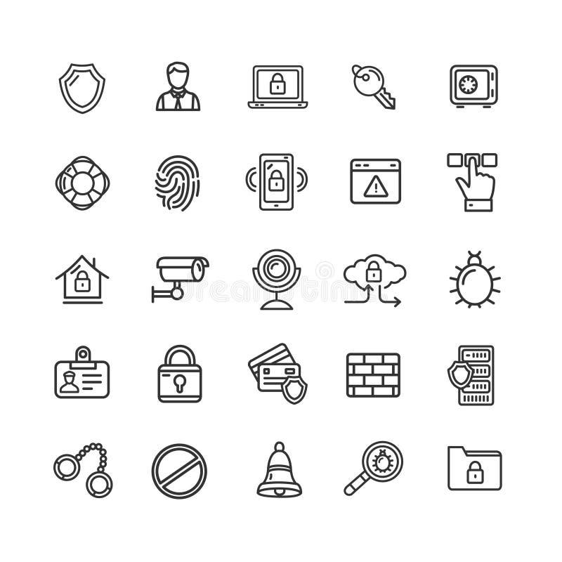 Datasäkerhet och tunn linje uppsättning för kassaskåpsymbolssvart vektor royaltyfri illustrationer