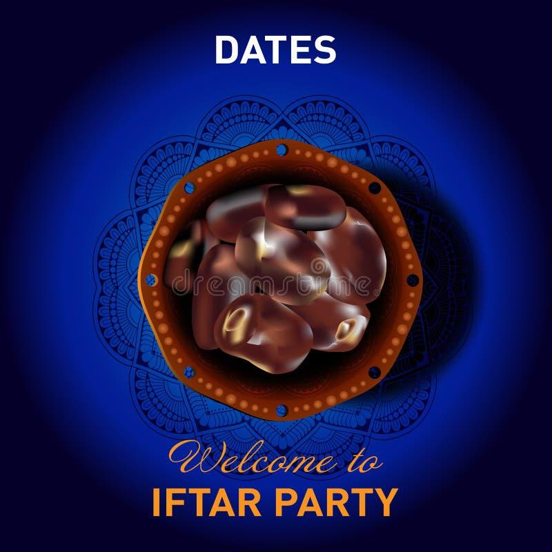 Datas do partido iftar projeto liso do fundo ilustração stock