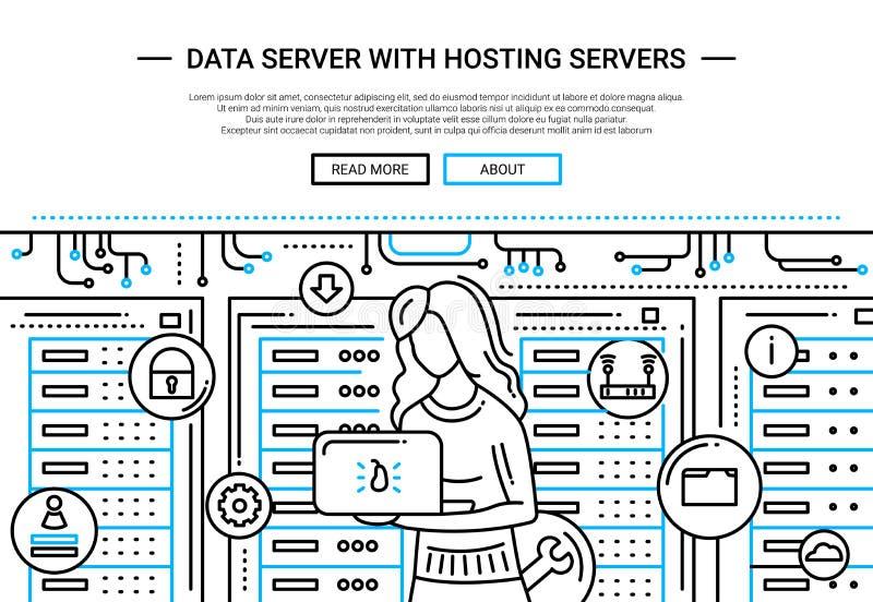 Dataserveren och att vara värd - fodra designwebsitetitelraden royaltyfri illustrationer