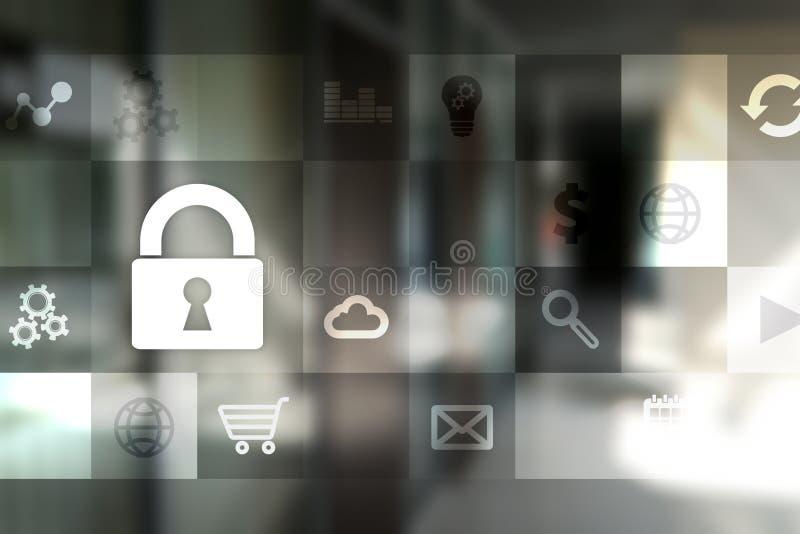 Dataskydd och cybersäkerhetsbegrepp på den faktiska skärmen stock illustrationer