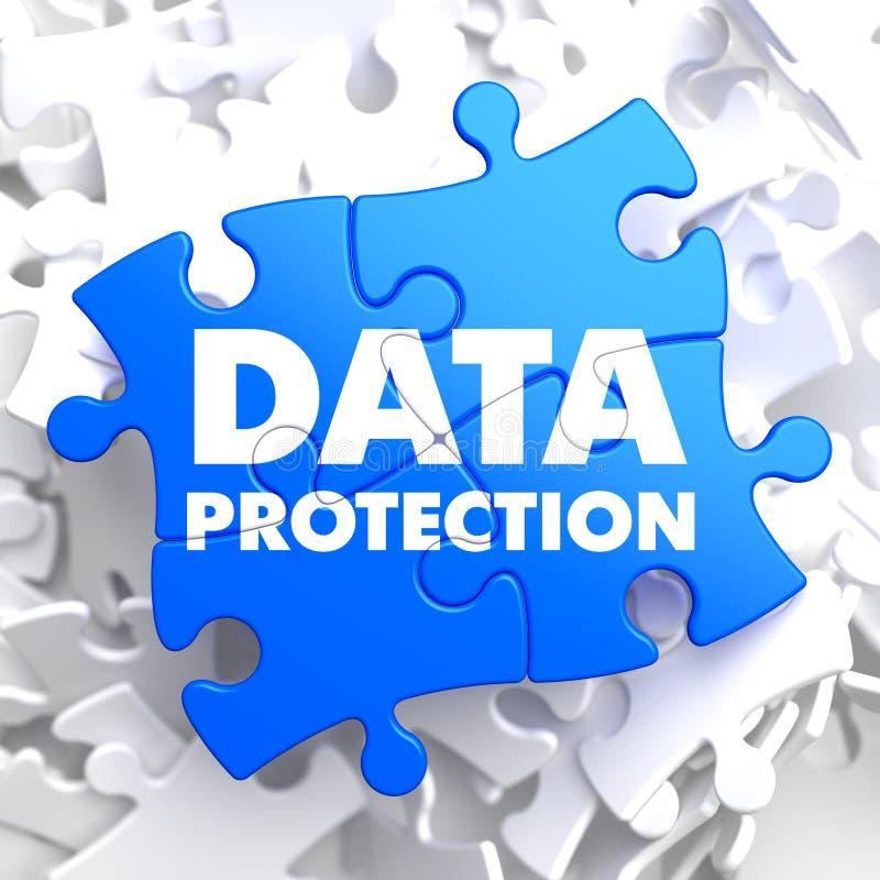 Dataskydd på blåttpussel. vektor illustrationer