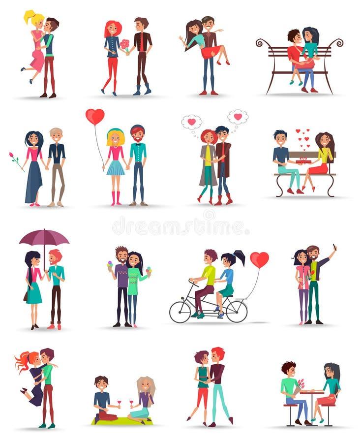 Datation des couples dans la collection d'amour sur le blanc illustration libre de droits