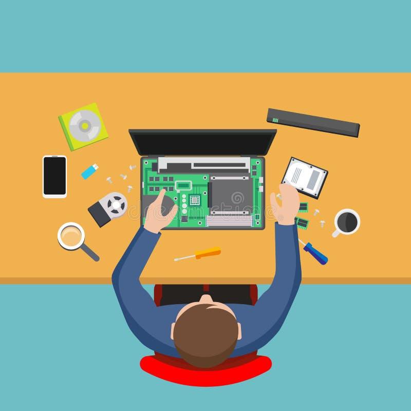 Datatjänst reparera för datorman royaltyfri illustrationer
