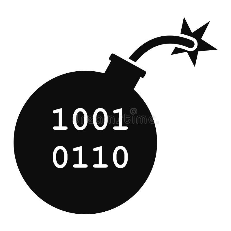 Dataviruset bombarderar symbolen, enkel stil stock illustrationer