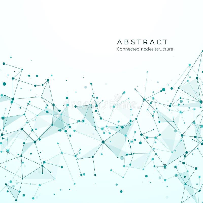 Datavisualizationbegrepp Grafisk knutpunktmodell Komplex förvecklingnätverksstruktur Abstrakt futuristisk plexus royaltyfri illustrationer