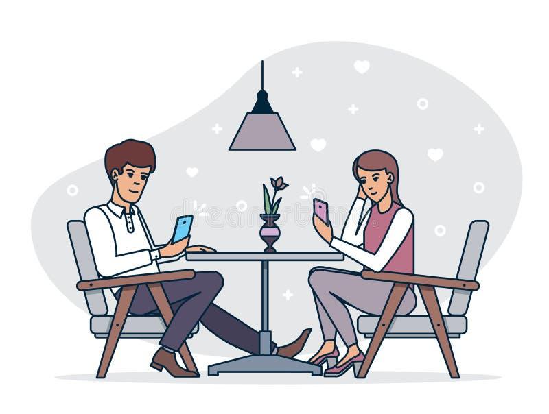 Datazione degli smartphones di lettura rapida delle coppie mentre avendo cena romantica in caffè insieme royalty illustrazione gratis