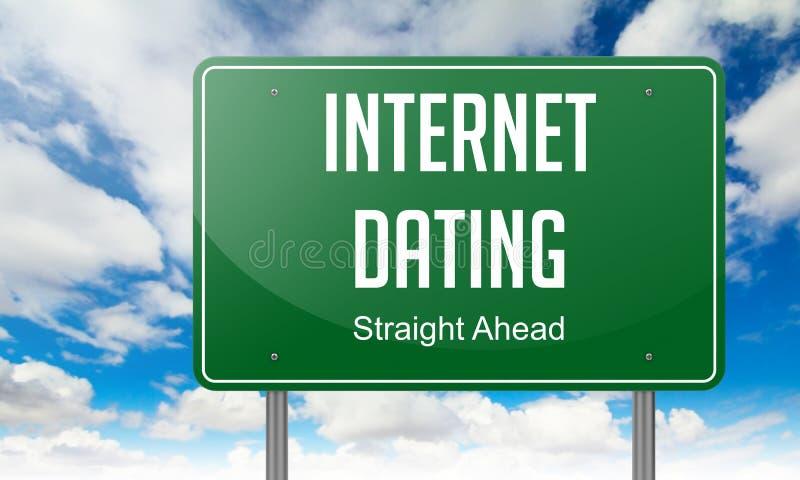 Datazione di Internet sul cartello verde della strada principale royalty illustrazione gratis