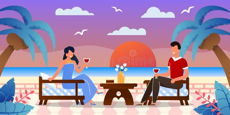 Datazione romantica alla spiaggia sull'isola tropicale illustrazione vettoriale
