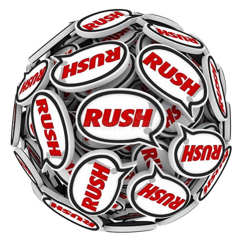 Date-butoir rapide d'urgence d'action de boule de bulles de la parole de Word de précipitation illustration stock