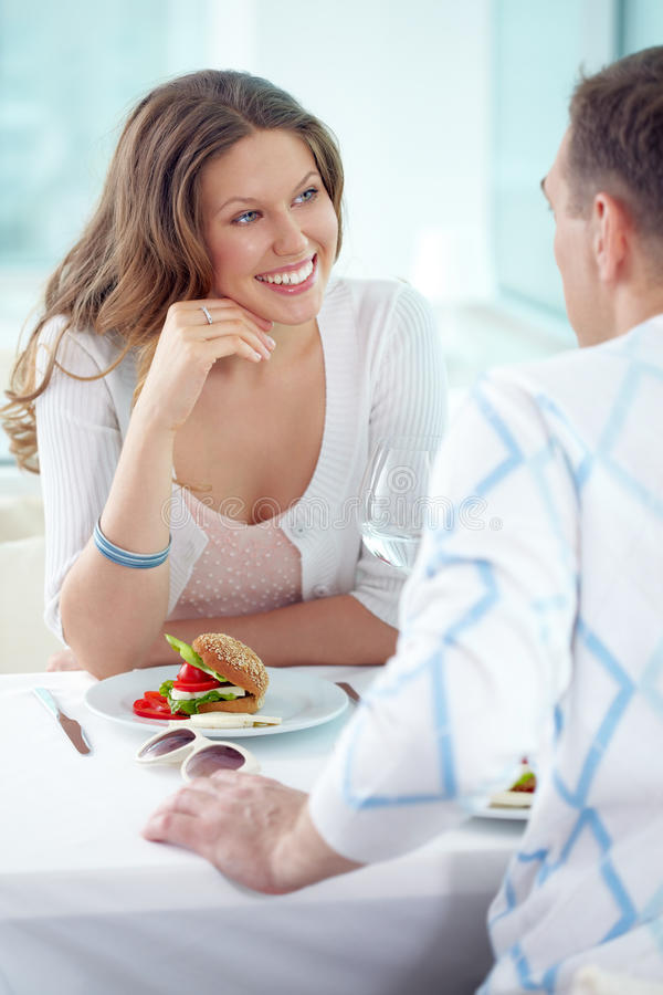 Date in cafe royalty free stock photo