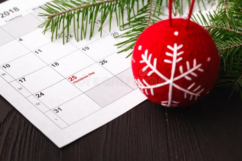 25 date on calendar with Red mark. Save the date. Christmas holiday preparation concept stock images