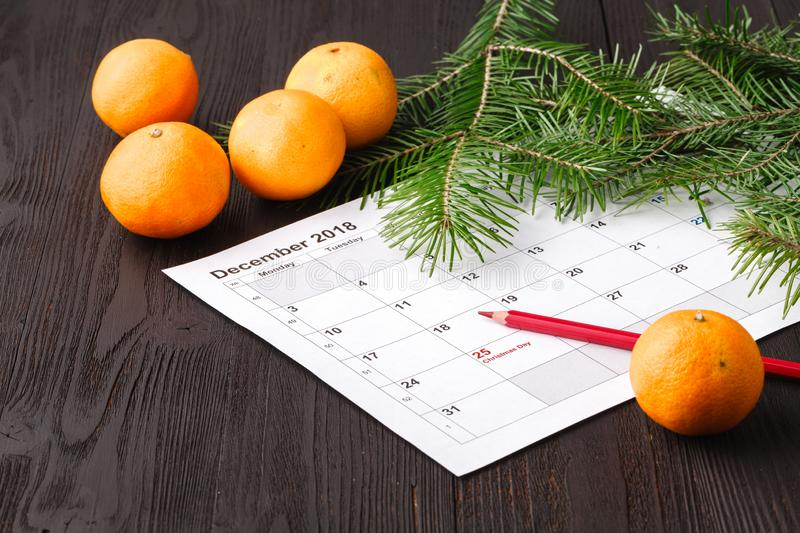 25 date on calendar with Red mark. Save the date. Christmas holiday preparation concept stock photography