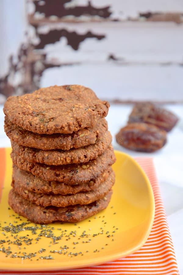 Date chia seed cookies. Homemade date chia seed cookies stock image