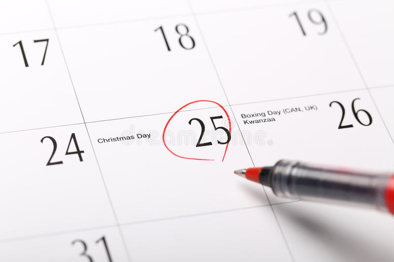 A date circled on a calendar. Christmas stock photography