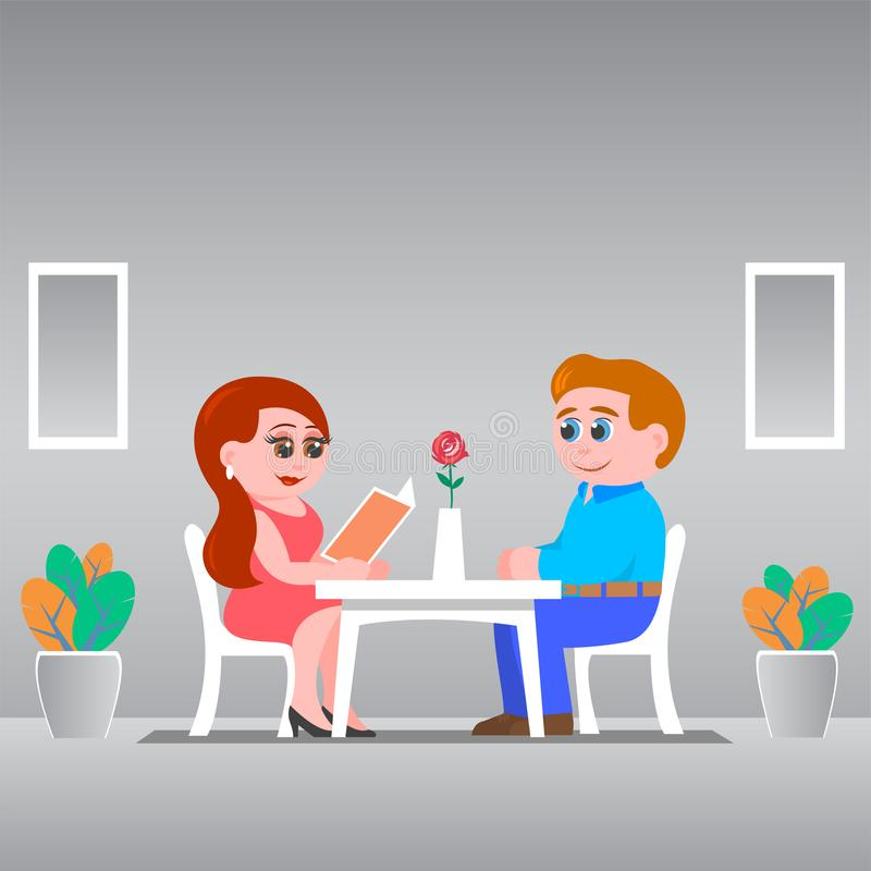 A date of a couple in love in a cafe. Young couple in love sits at a table in a cafe. A girl in a red dress is reading a menu. The man gently looks at her stock illustration