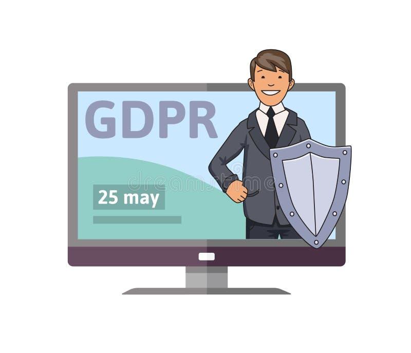 Date d'initiation de GDPR Homme de sourire dans le costume avec le bouclier se tenant du moniteur d'ordinateur Défenseur de donné illustration de vecteur