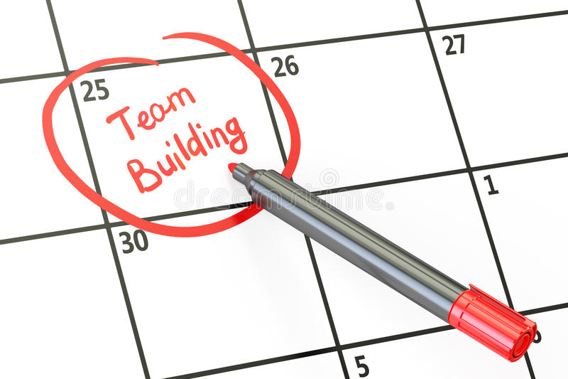 Date de renforcement d'équipe sur le concept de calendrier, rendu 3D illustration stock