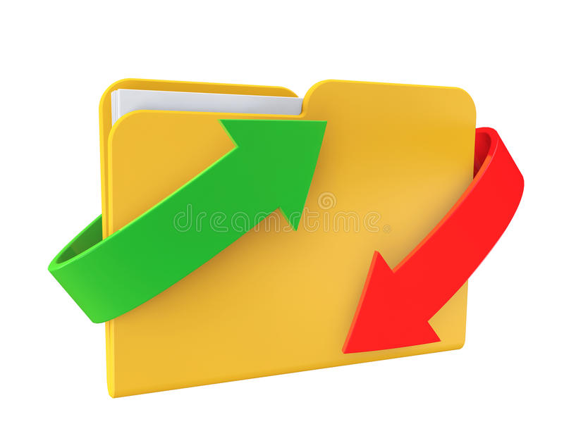 Date downloading Concept. Folder with arrows stock photography