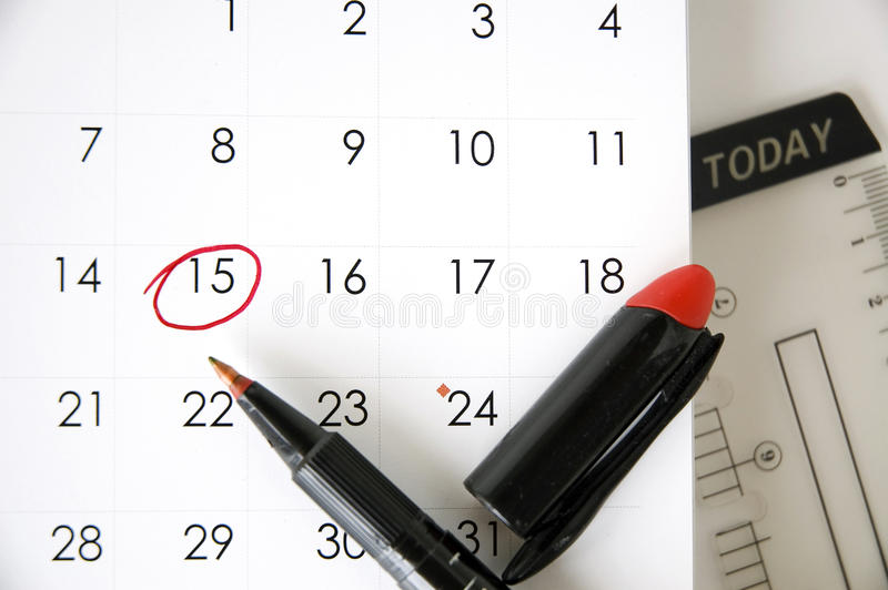 Date Fifteen Today Stock Photo