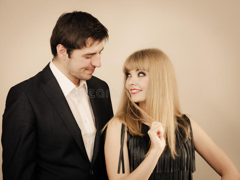 Elegant couple on perfect date. royalty free stock images