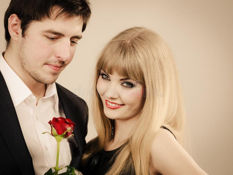 Elegant couple on perfect date stock photography