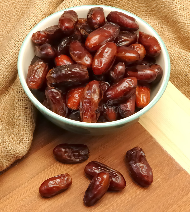 Date fruit. In white bowl stock image