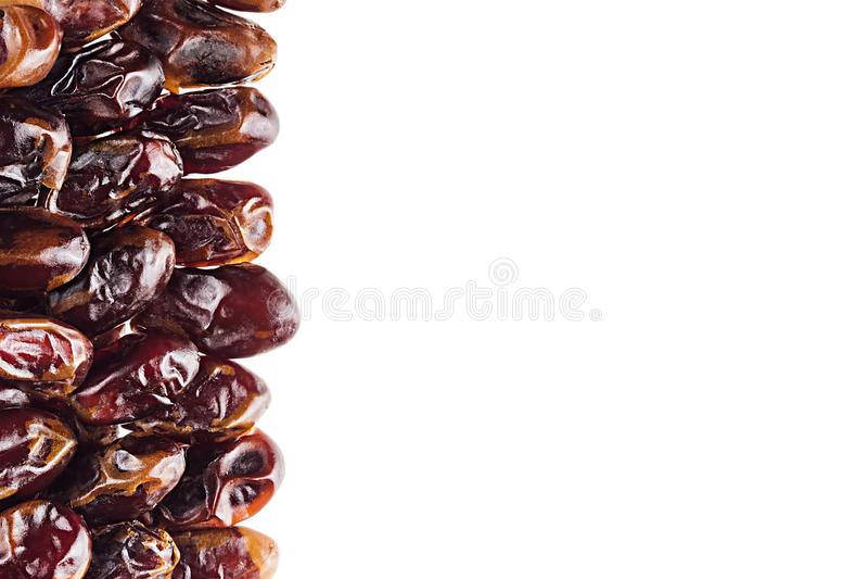 Date fruit closeup on white background. stock photos