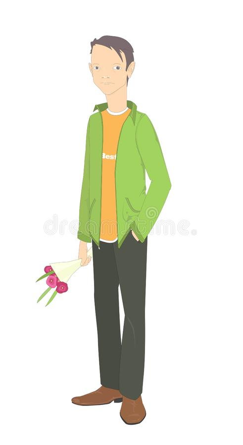 `A date` -full body portrait of a standing boyyoung man holding a bouquet of flowers and waiting someone. Vector illustration.Cartoon style. Isolated on white royalty free illustration