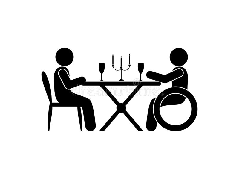 Date illustration, pictogram people sitting at the table, romantic dinner, stick figure. Person in a wheelchair stock illustration