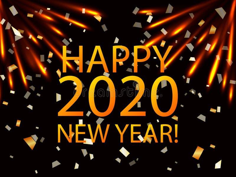 2020 date with light fireworks. Vector illustration for poster stock illustration
