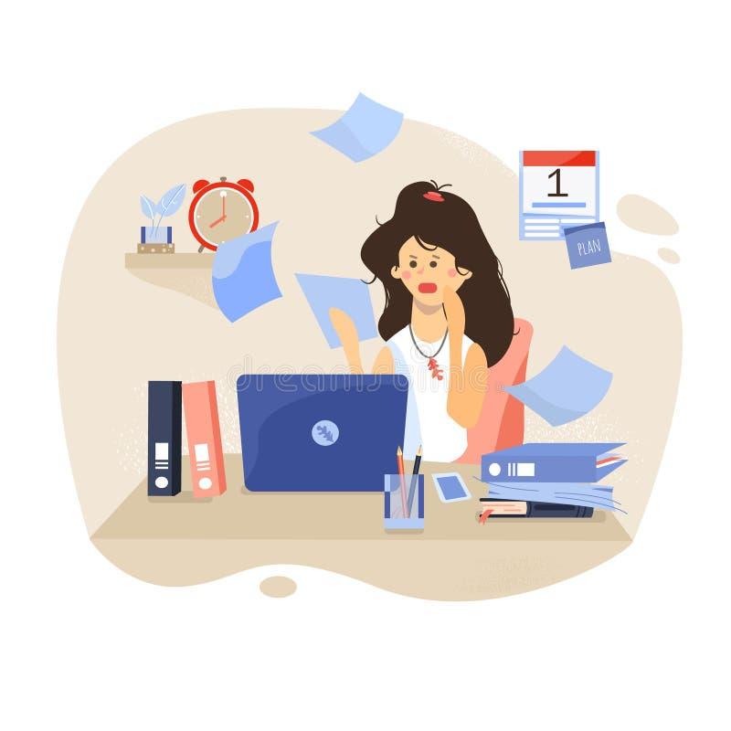 date-limite La fille à l'ordinateur Lieu de travail avec l'ordinateur portable et le bureau illustration libre de droits