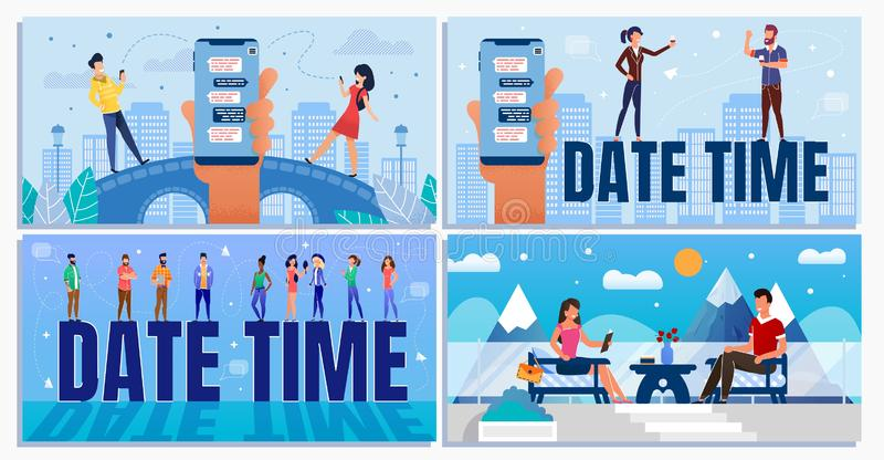 Date Time for Business and Informal Situation Set. Date Time Daily Planner for Business and Informal Situation Cartoon Set. Businesspeople and Office Workers vector illustration