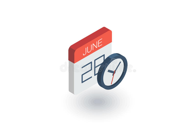 Date and time, calendar and clock isometric flat icon. 3d vector vector illustration
