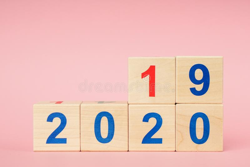 Date From 2019 To 2020 On Wooden Cube Calendar . New Year s Concept stock images