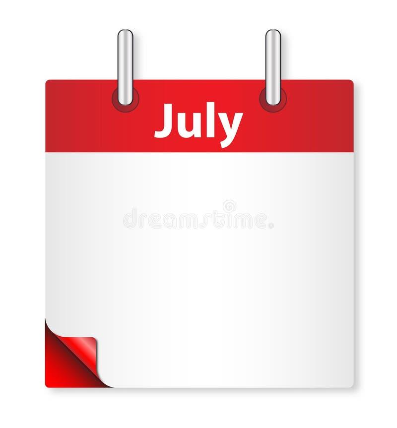 Date vide de juillet au-dessus de blanc illustration de vecteur